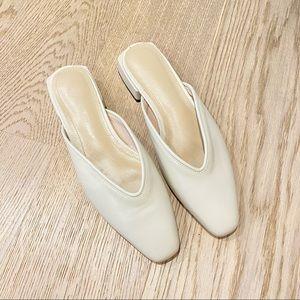 Brand new * cream flats mules